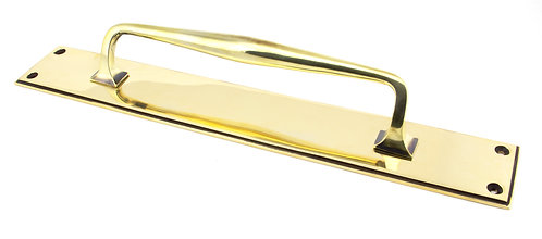 From The Anvil - Aged Brass 425mm Art Deco Pull Handle on Backplate