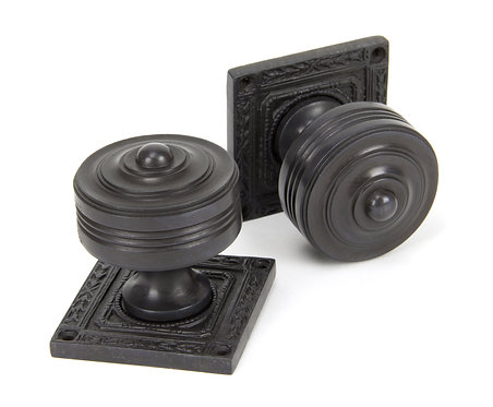 From The Anvil - Aged Bronze Tewkesbury Square Mortice Knob Set
