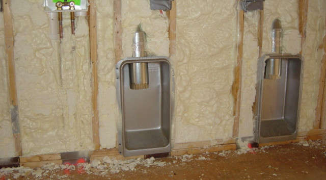 Installing a DryerBox gives you extra square footage so your dryer can sit back against the wall.  Spray foam insulation installed in an exterior wall fills in the wall cavity ensuring a lack of air leakage.