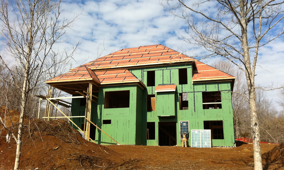 Zip System walls were installed on this house.  These panels bring structurability and built-in exterior insulation.