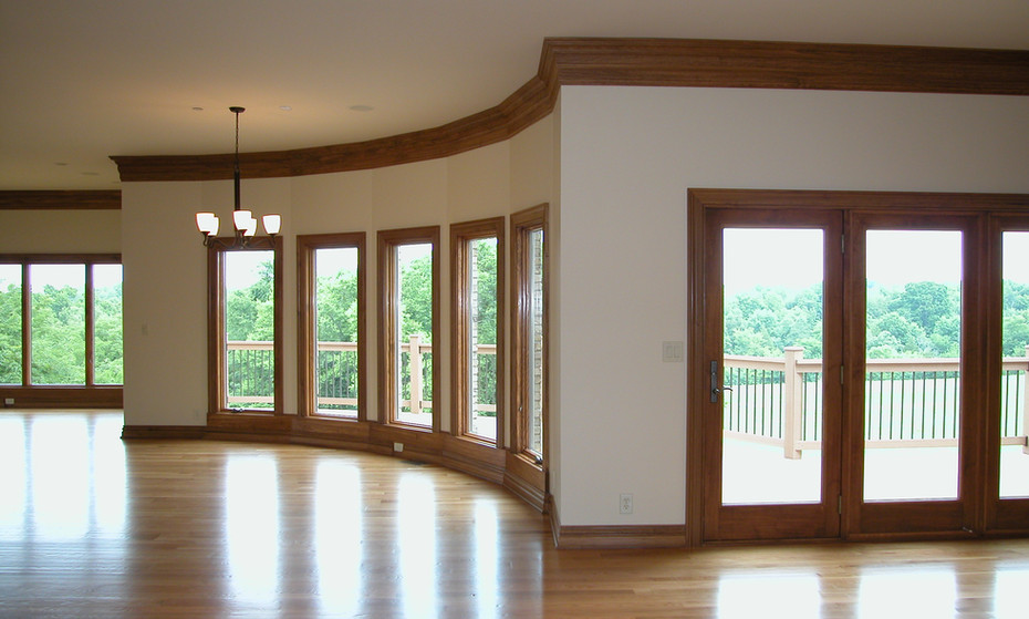 Seventy linear foot of window wall to catch every inch of a wooded view.