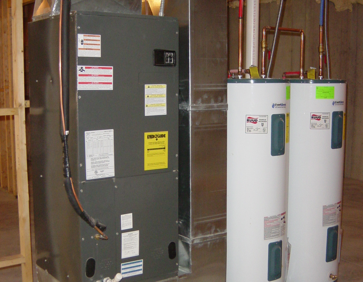 Efficient homes come with efficient equipment setup.  Our normal geothermal unit setup includes two water heaters.  One that is turned on and the other acts as a holding tank for extra capacity.