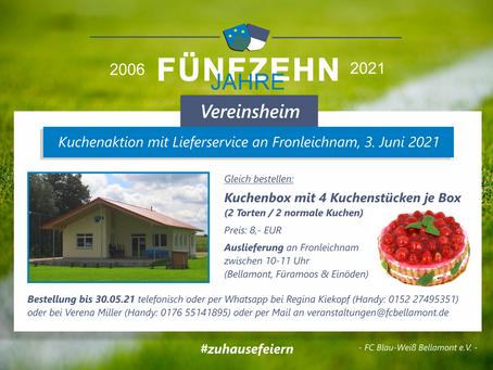 Kuchenaktion mit Lieferservice an Fronleichnam – 15 Jahre Vereinsheim FCB