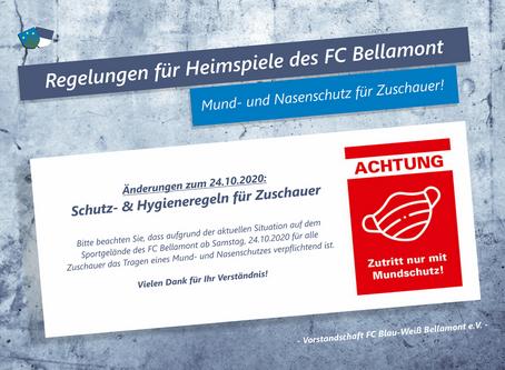 Mund- und Nasenschutzpflicht für das Sportgelände des FC Bellamont ab dem 24.10.2020!