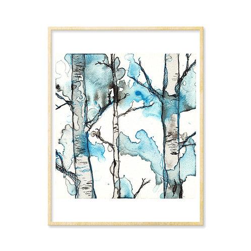 Black & Blue Forest 1 - Print