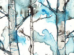 Black & Blue Forest I