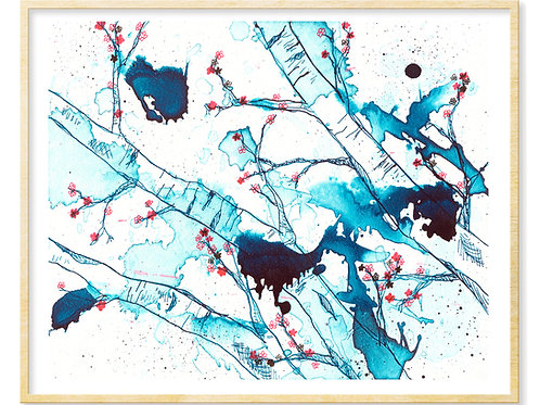Cherry Blossoms in Blue - Print