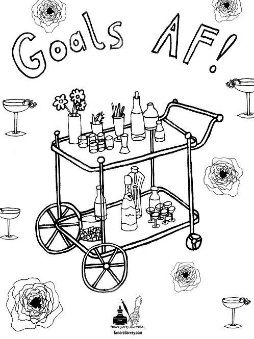 BAR CART AF Coloring Page