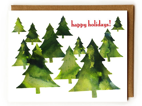 Holiday Pine Trees - Blank Card