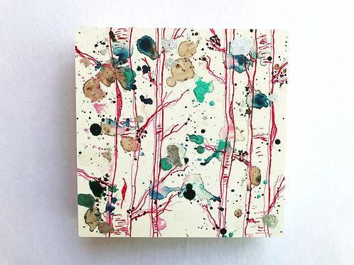 Pink Birches w/ Silver Leaf - Original Painting