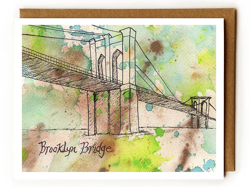 Brooklyn Bridge abstract - Blank Card