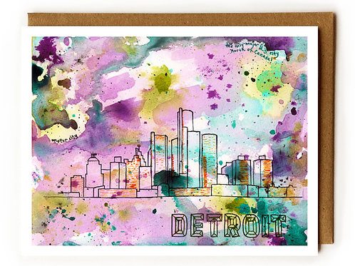 Detroit Motor City - Blank Card