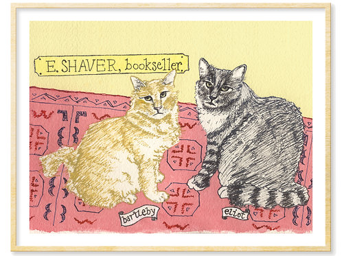 Bartleby & Eliot, E. Shaver Bookstore Cats (Savannah, GA) - Print