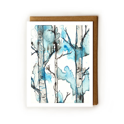 Black & Blue Forest 1 - Blank Card