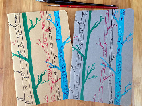 Hand-painted Birch Forest Moleskine Journal