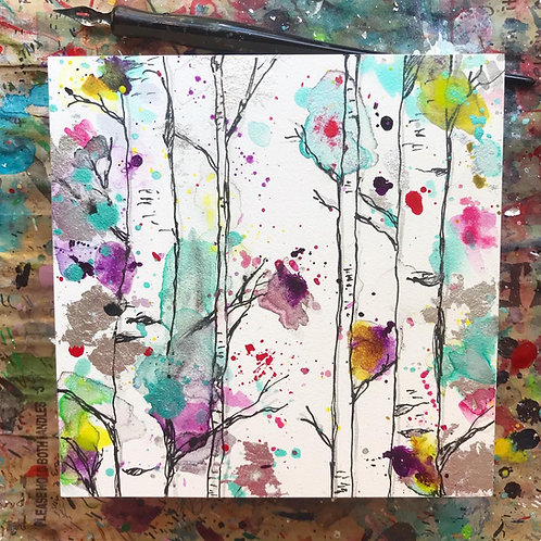Black Birches w/ Silver Leaf - Original Painting