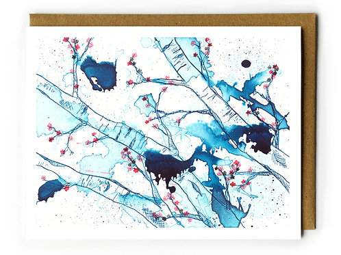 Cherry Blossoms in Blue - Blank Card