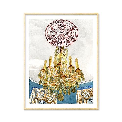 Glitzy Chandelier, Ballastone Inn - Print