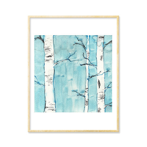 Black & Blue Forest 2 - Print