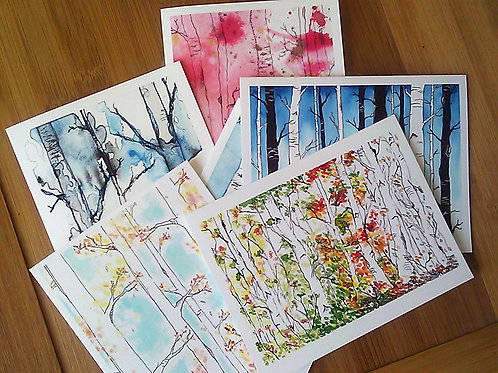 Birch Forest Card Set - Boxed Set of 6