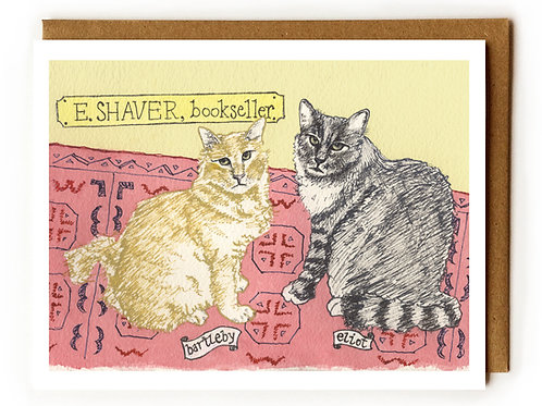 Bartleby & Eliot, E. Shaver Bookstore Cats (Savannah, GA) - Blank Card