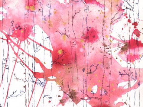 Pink & Gold Birch Forest