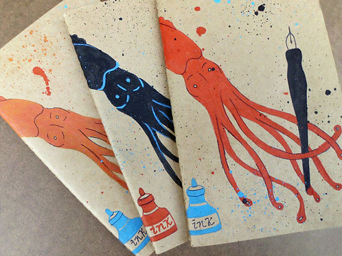 Hand-painted Squid Moleskine Journal