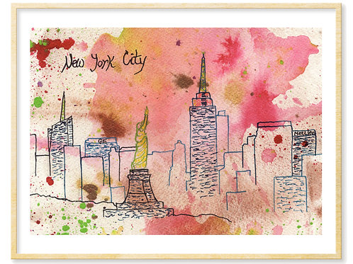 Pink NYC abstract - Print