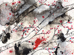 Cherry Blossoms in Black