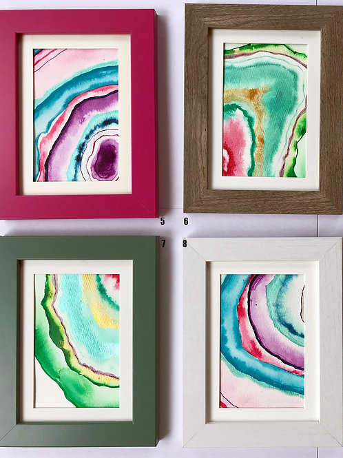 Sparkly Little Geodes - Original Paintings (framed)