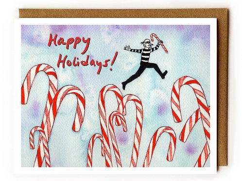 Holiday Burglar & Candy Canes - Blank Card