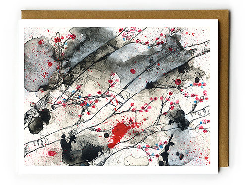 Cherry Blossoms in Black - Blank Card