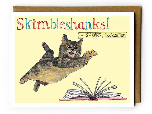 Skimbleshanks, E. Shaver Bookstore Cat (Savannah, GA) - Blank Card