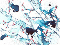 Cherry Blossoms in Blue