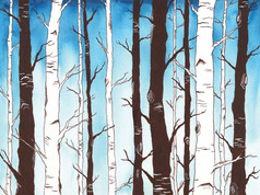 Sapphire Sky with Birch Forest