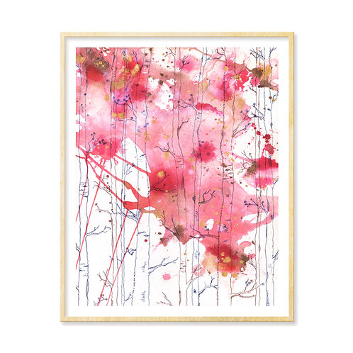 Pink & Gold Birch Forest - Print