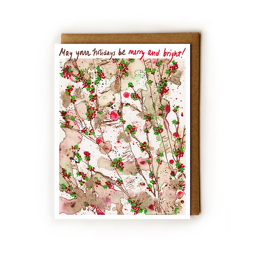 Holiday Hollyberries - Blank Card