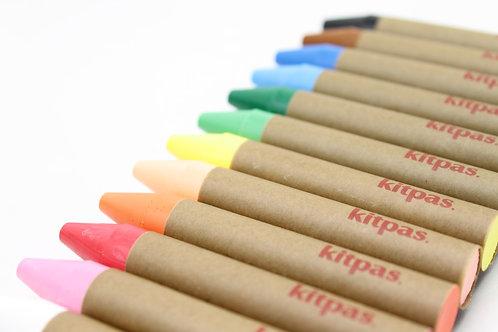 Kitpas Medium Crayons - 12 colours