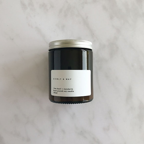 Lime Basil and Mandarin Hand Poured Soy Candle