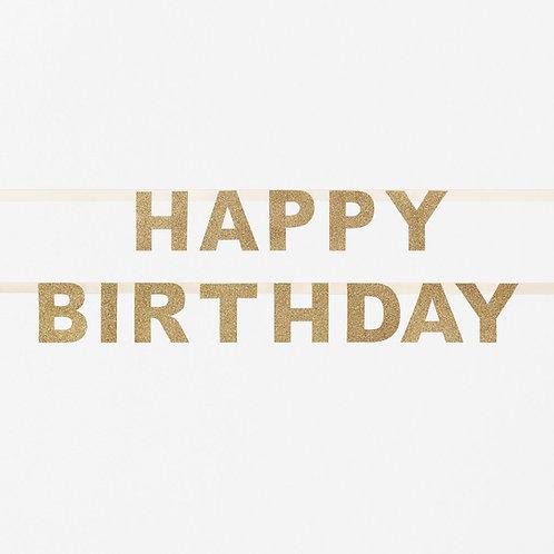 Gold Happy Birthday Glitter Garland