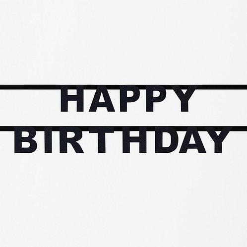 Black Happy Birthday Glitter Garland