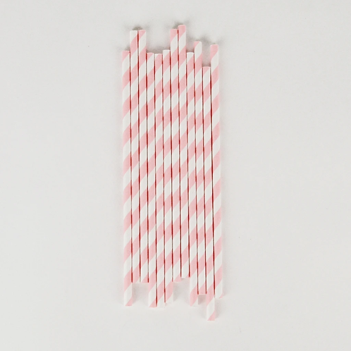 Pink and White Stripe Paper Straws