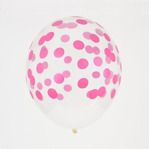 Fuscia Confetti Printed Balloon
