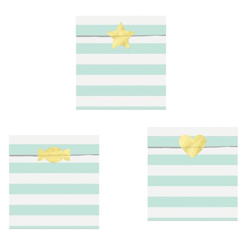 Mint Green Stripe Treat Bags with shaped sticker seals