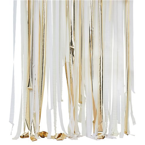 Gold and White Streamer Backdrop