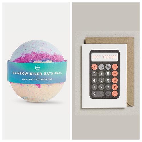 Rainbow River Bath Ball and Best Teacher Card