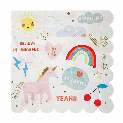 Meri Meri Rainbow and Unicorn Napkins