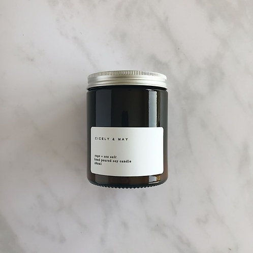 Sage and Sea Salt Hand Poured Soy Candle