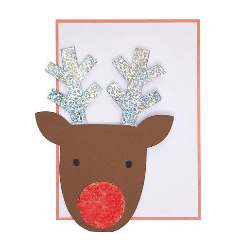 Sequin Nose Reindeer Card