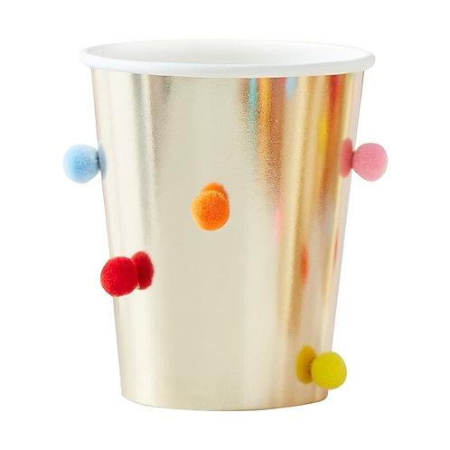 Rainbow Pom Pom Gold Paper Party Cups